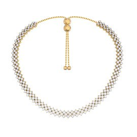 Eternity Three Row White Sapphire 18ct Gold Vermeil Adjustable Choker Tennis Necklace