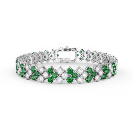 Eternity Three Row Emerald and Diamond CZ Silver Tennis Bracelet