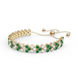 Eternity Three Row Emerald 18ct Gold Vermeil Adjustable Tennis Bracelet