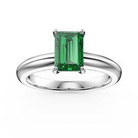 Unity 1ct Emerald cut Emerald Solitaire 18ct White Gold Proposal Ring