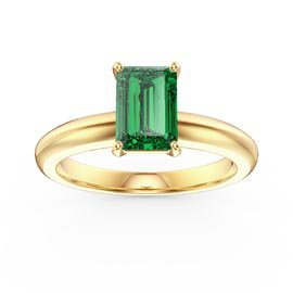 Unity 1ct  Emerald Cut Emerald Solitaire 18ct Gold Vermeil Promise Ring