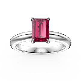 Unity 1ct Emerald cut Ruby Solitaire 18ct White Gold Proposal Ring