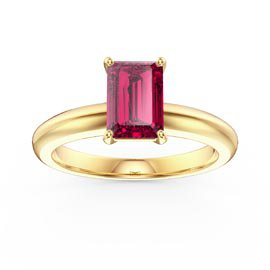 Unity 1ct Emerald cut Ruby Solitaire 18ct Yellow Gold Proposal Ring