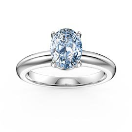 Unity 1.25ct Oval Aquamarine Solitaire 18ct White Gold Proposal Ring