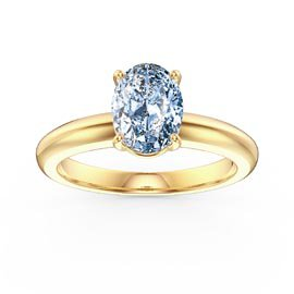 Unity 1.25ct Oval Aquamarine Solitaire 18ct Yellow Gold Proposal Ring