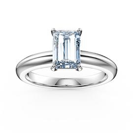 Unity 1ct Aquamarine Emerald Cut Solitaire 18ct White Gold Proposal Ring