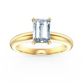 Unity 1ct Aquamarine Emerald Cut Solitaire 18ct Yellow Gold Proposal Ring