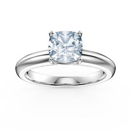 Unity 1ct Aquamarine Cushion cut Solitaire 18ct White Gold Proposal Ring