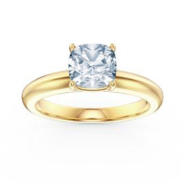 Unity 1ct Aquamarine Cushion cut Solitaire 18ct Yellow Gold Proposal Ring