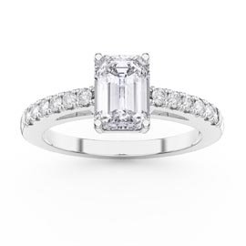 Unity 1ct White Sapphire Emerald Cut Diamond Pave 18ct White Gold Engagement Ring