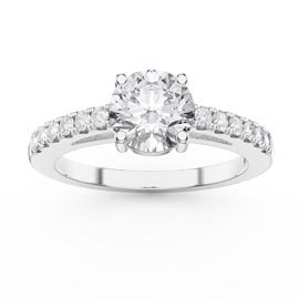 Unity 1ct White Sapphire Diamond Pave 18ct White Gold Engagement Ring
