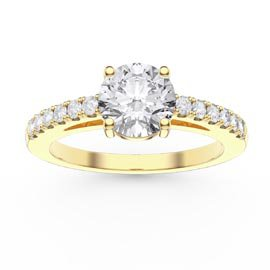 Unity 1ct White Sapphire Diamond Pave 18ct Yellow Gold Engagement Ring