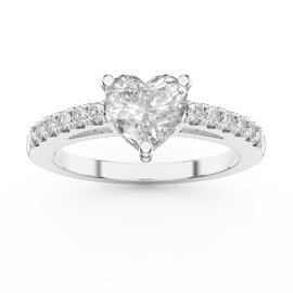 Unity 1ct Heart White Sapphire Diamond Pave 18ct White Gold Engagement Ring