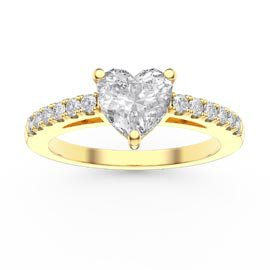 Unity 1ct Heart White Sapphire Diamond Pave 18ct Yellow Gold Engagement Ring