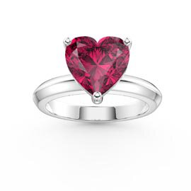 Unity 2ct Heart Ruby Solitaire Platinum Plated Silver Promise Ring