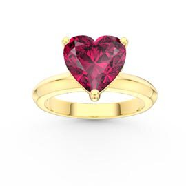 Unity 2ct Heart Ruby Solitaire 9ct Yellow Gold Promise Ring