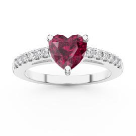 Unity 1ct Heart Ruby Pave 9ct White Gold Proposal Ring