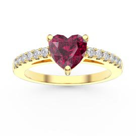Unity 1ct Heart Ruby Pave 9ct Yellow Gold Proposal Ring