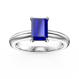 Unity 1ct Blue Sapphire Solitaire Emerald cut 18ct White Gold Proposal Ring