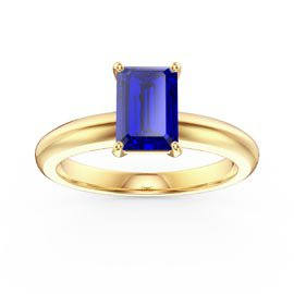 Unity 1ct Blue Sapphire Solitaire Emerald cut 18ct Yellow Gold Proposal Ring