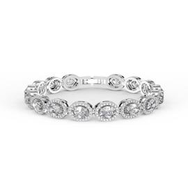 Eternity White Sapphire Oval Halo Platinum plated Silver Tennis Bracelet