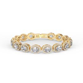Eternity White Sapphire Oval Halo 18ct Gold Vermeil Tennis Bracelet