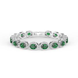 Eternity Emerald CZ Oval Halo Platinum plated Silver Tennis Bracelet