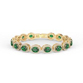 Eternity Emerald CZ Oval Halo 18ct Gold Vermeil Tennis Bracelet