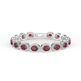Eternity Ruby Oval Halo Platinum plated Silver Tennis Bracelet