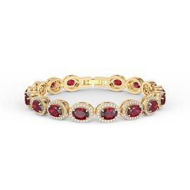 Eternity Ruby Oval Halo 18ct Gold Vermeil Tennis Bracelet