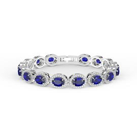 Eternity Blue and White Sapphire Oval Halo Platinum plated Silver Tennis Bracelet