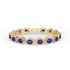 Eternity Blue and White Sapphire Oval Halo 18ct Gold Vermeil Tennis Bracelet