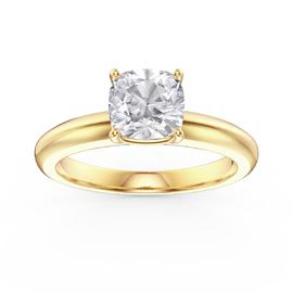Unity 1ct White Sapphire Cushion cut Solitaire 18ct Gold Vermeil Promise Ring