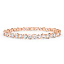 Infinity Diamond CZ 18ct Rose Gold plated S Bar Silver Tennis Bracelet