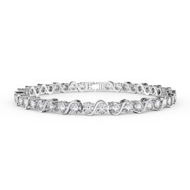 Infinity Diamond CZ Rhodium plated S Bar Silver Tennis Bracelet