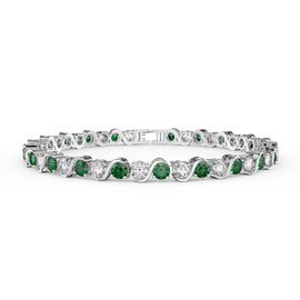 Infinity Emerald and Diamond CZ Rhodium plated S Bar Silver Tennis Bracelet