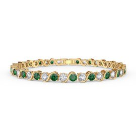 Infinity Emerald and Diamond CZ 18ct Gold plated S Bar Silver Tennis Bracelet