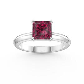 Unity 1ct Princess Ruby Platinum plated Silver Promise Ring