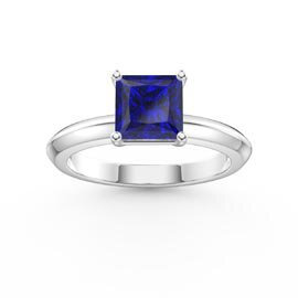 Unity 1ct Princess Sapphire Platinum plated Silver Promise Ring