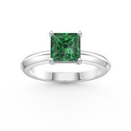 Unity 1ct Princess Emerald Platinum plated Silver Promise Ring