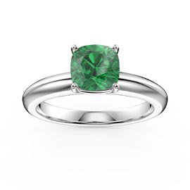 Unity 1ct Emerald Cushion Cut Solitaire 18ct White Gold Proposal Ring