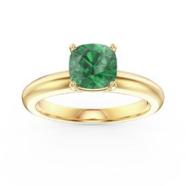 Unity 1ct Emerald Cushion Cut Solitaire 18ct Yellow Gold Proposal Ring