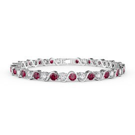 Infinity Ruby and Diamond CZ Rhodium plated S Bar Silver Tennis Bracelet