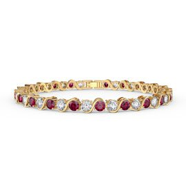 Infinity Ruby and Diamond CZ 18ct Gold plated S Bar Silver Tennis Bracelet