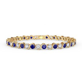 Infinity Sapphire and Diamond CZ 18ct Gold plated S Bar Silver Tennis Bracelet