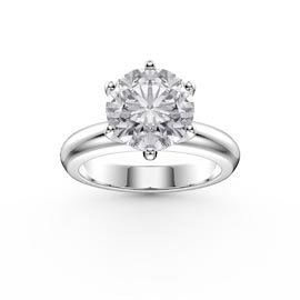 Unity 2ct White Sapphire Classic Solitaire Platinum plated Silver Promise Ring