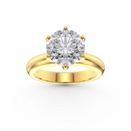 Unity 2ct White Sapphire Classic Solitaire 18ct Gold Vermeil Promise Ring