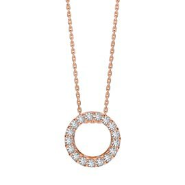 Charmisma Circle White Sapphire Halo 18ct Rose Gold Vermeil Pendant