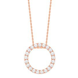 Infinity Circle White Sapphire Halo 18ct Rose Gold Vermeil Pendant Large