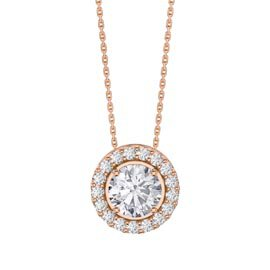Infinity White Sapphire Solitaire and Halo 18ct Rose Gold Vermeil Pendant Set